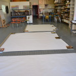 Getting ready to create large-scale gestural charcoal drawings